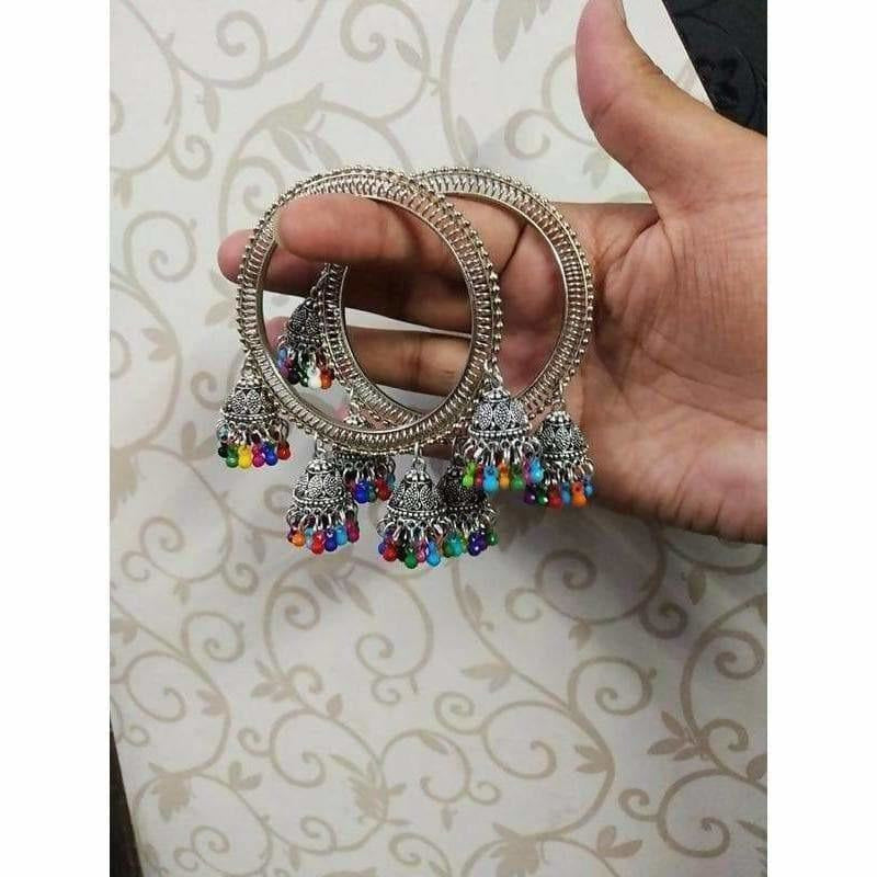Silver Bangles With Hanging Jhumkas
