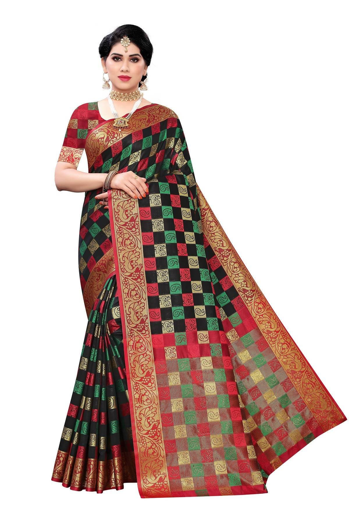 Vamika Banarasi Jaquard Traditional Black Weaving Saree