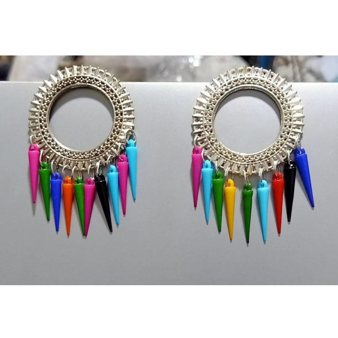 Sun Design Oxidized Silver Earrings With Multicolor Alloy Drops