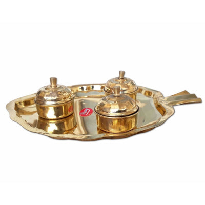 Leaf Shape Brass Tray with Haldi Boxes - Dista Cart