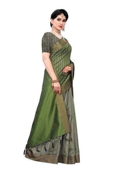 Vamika Green Cotton Silk Weaving Saree (Paithani Green) - Distacart