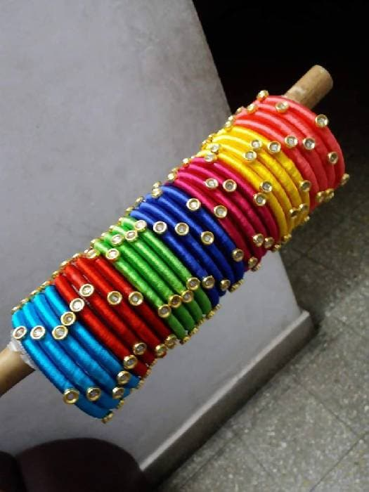 Seven colors Silk Threaded Bangles sets