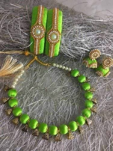 Parrot Green Silk Threaded Necklace Set, Earrings and Bangles Set of 2