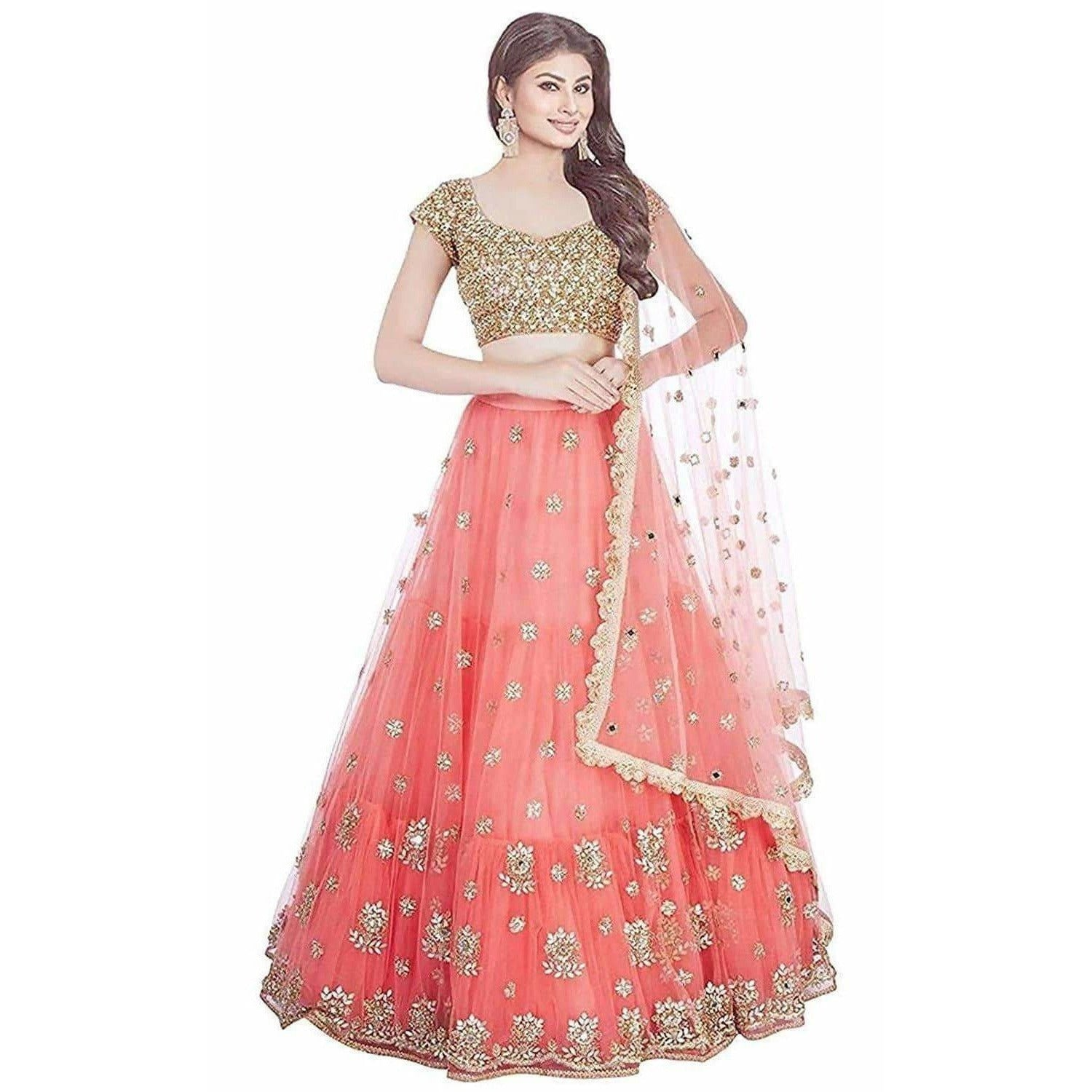Orange Semi Stitched Lehenga Choli