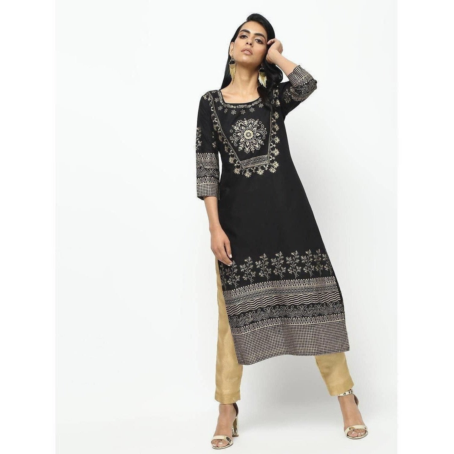 Cheera Black Straight Foil Printed Long Kurta
