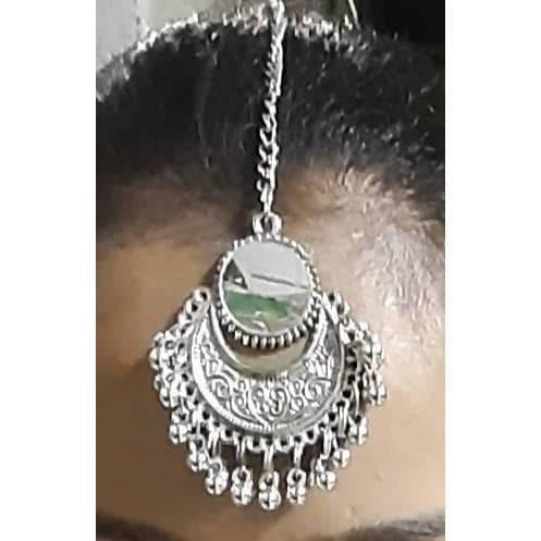 Traditional Oxidized Silver Maang Tikka