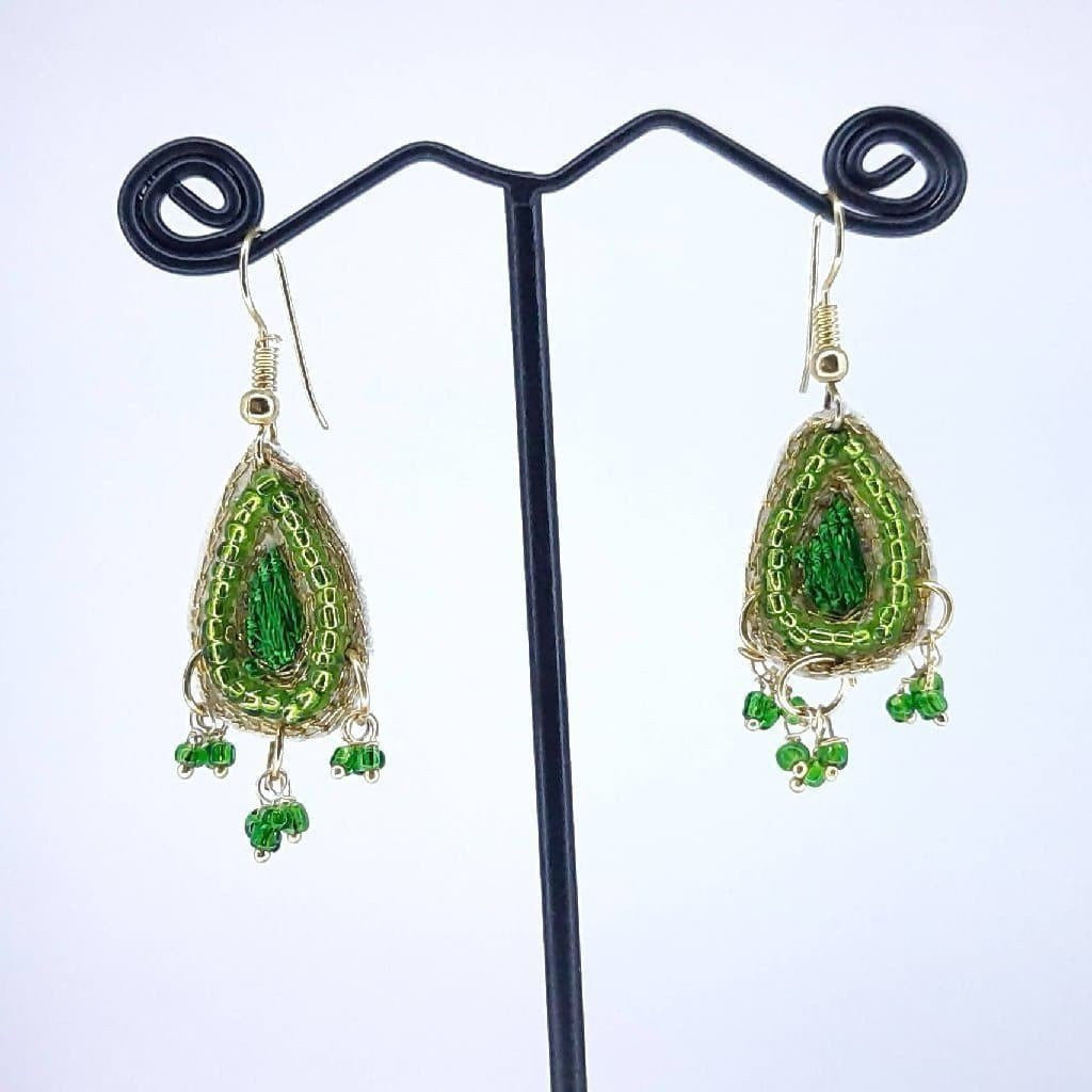 Hand weaved leaf with Zari Work Earrings