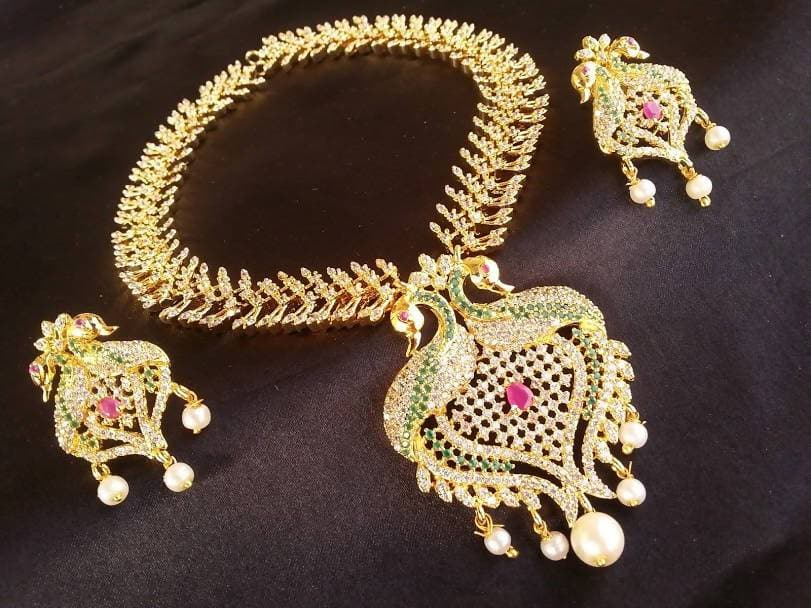 Multicolor Peacock Bridal Latest Necklace Set