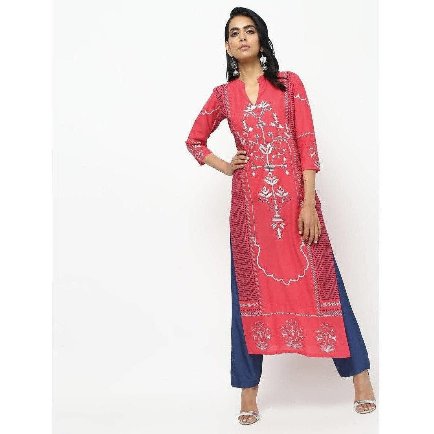 Cheera Pink Straight Printed Long Kurta