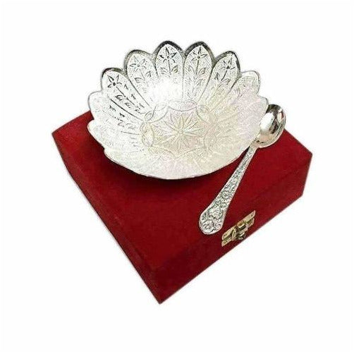 German Silver Flower Shaped Bowl With Spoon