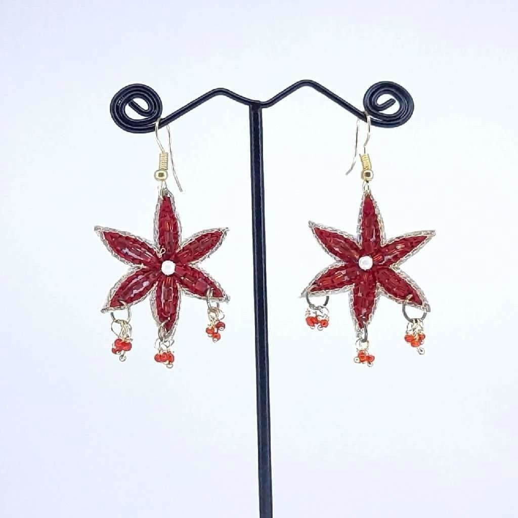 Hand Crafted Earrings Red Star Crystal