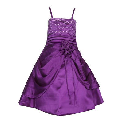 Asmaani Baby Girl's Purple Satin A-Line Maxi Full Length Dress (AS-DRESS_22020) - Distacart