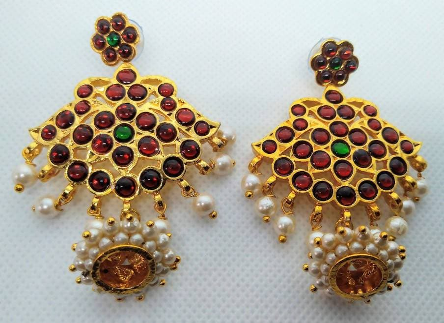 Multicolor Kemp Jhumkas With Cute Pearls