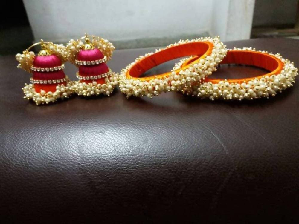 Pearl Silk Threaded Jumka Earrings And Bangles Set