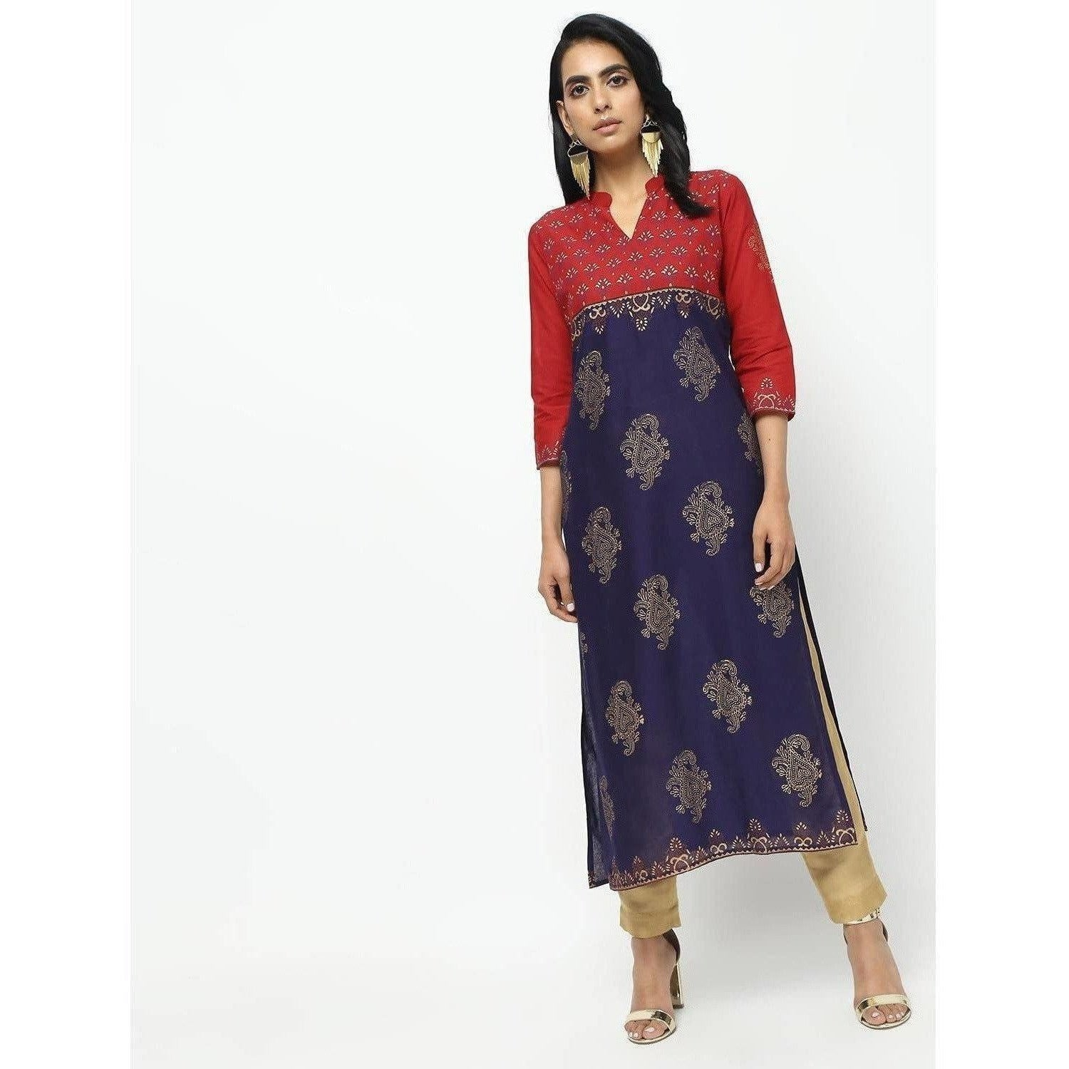 Cheera Red Straight Printed Kurta
