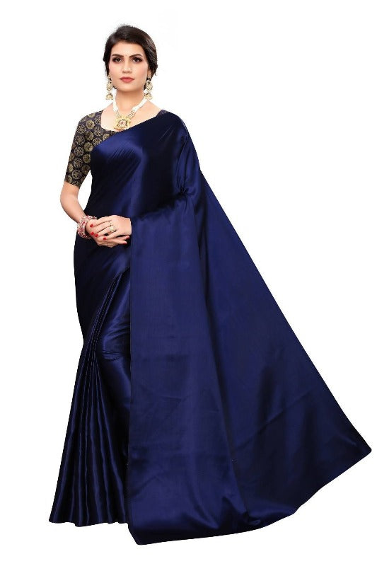 Vamika Navy Satin Designer Saree (DUST NAVY)
