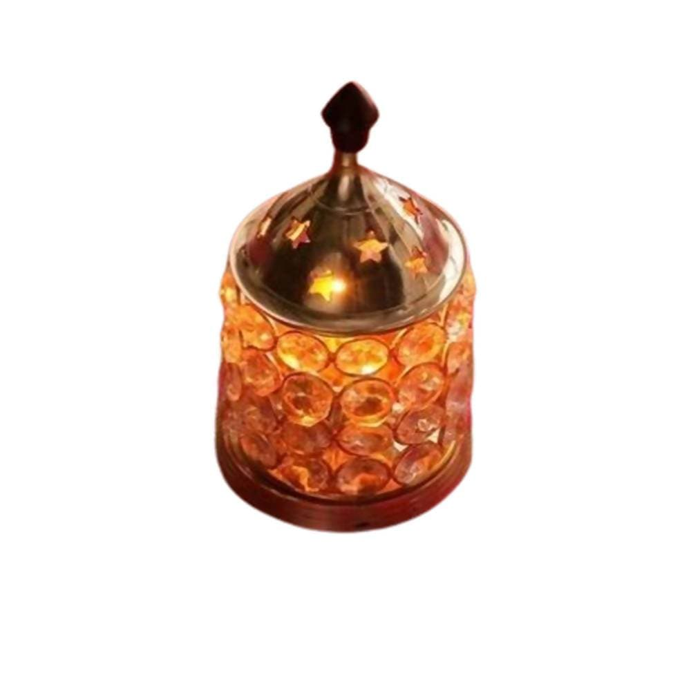 Puja N Pujari Gold Brass Crystal Akhand Jyoti with Glass Cover / Diwali Oil Lamp Diya