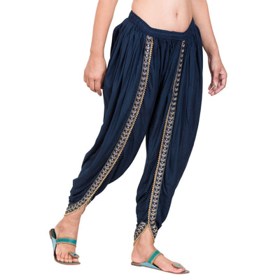 Asmaani Navy Blue color Dhoti Patiala with Embellished Border
