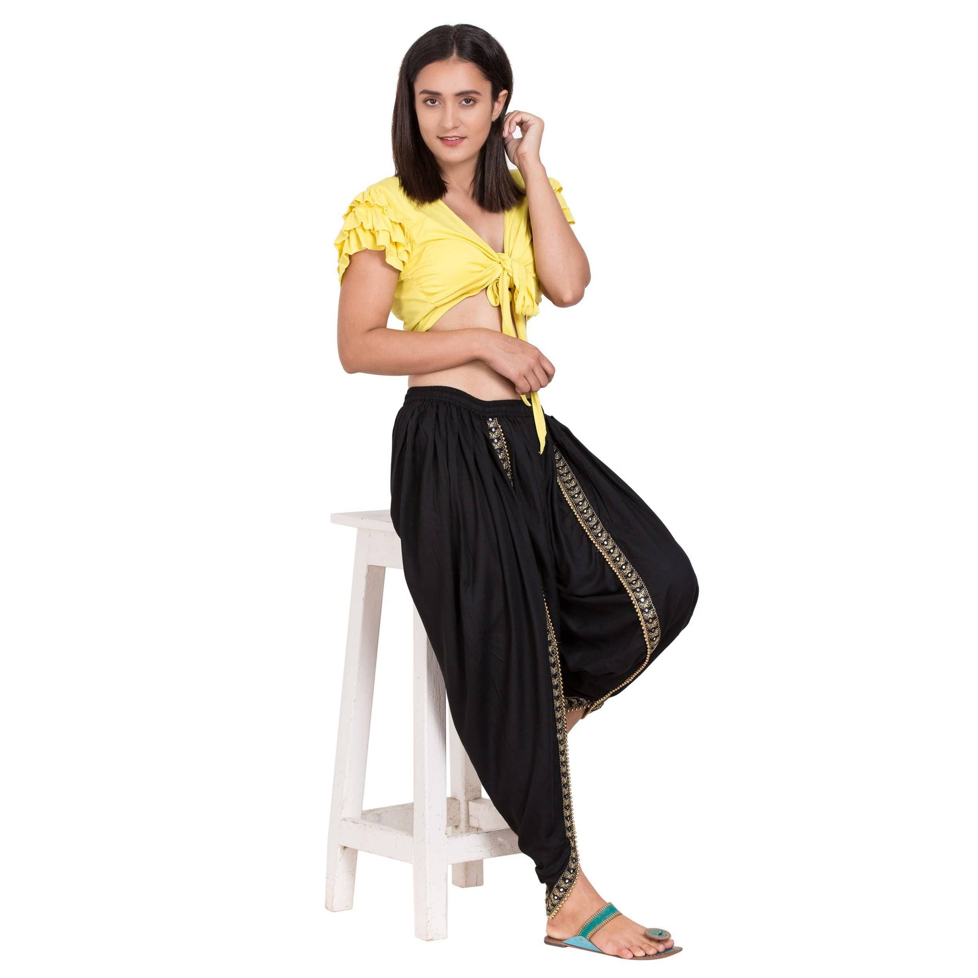 Asmaani Black color Dhoti Patiala with Embellished Border
