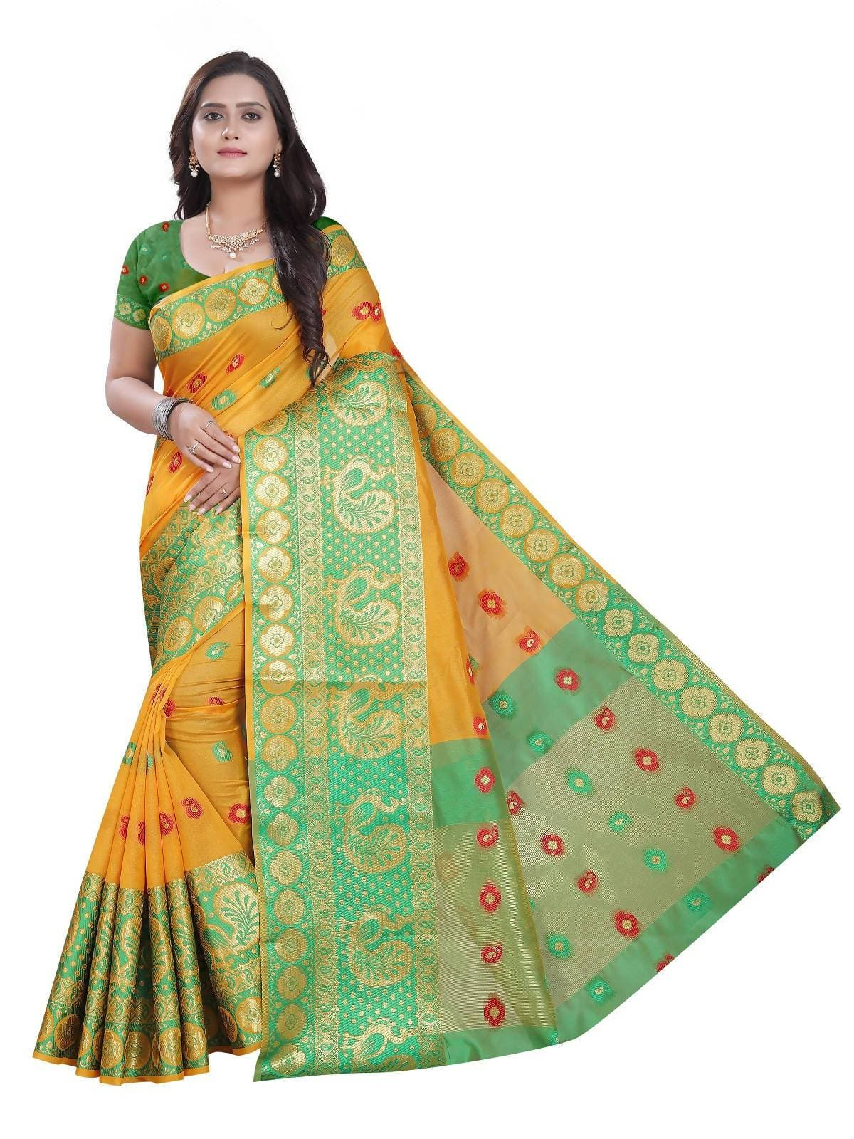 Vamika Banarasi Cotton Silk Yellow Weaving Saree