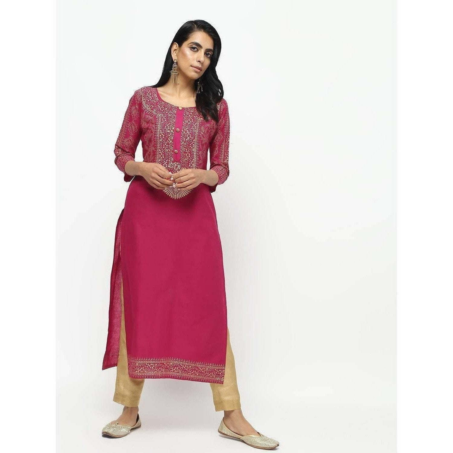 Cheera Megenta Straight Foil Printed Long Kurta