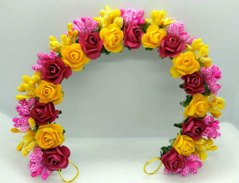 Pink & Yellow Flower Hair Gajra
