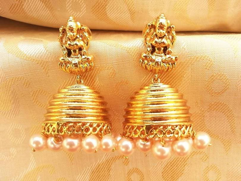 Gold Plated Temple Jhumkas