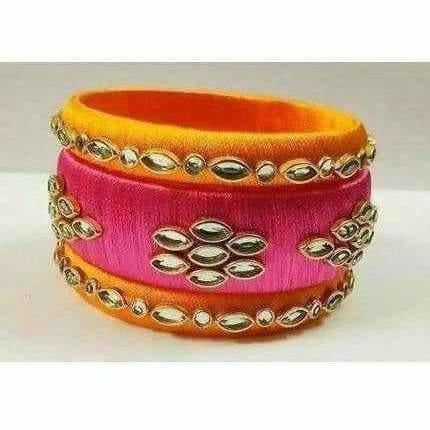 Yellow and Pink Color Bangle Set