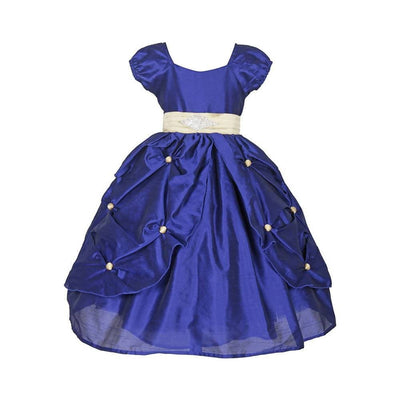 Asmaani Baby Girl's Blue Color Satin A-Line Maxi Full Length Dress (AS-DRESS_22005) - Distacart