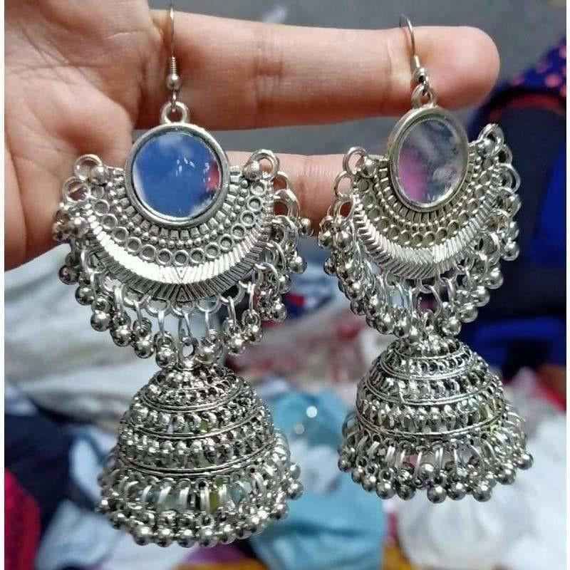 Half Moon Style Hanging Jhumkas With Mirror