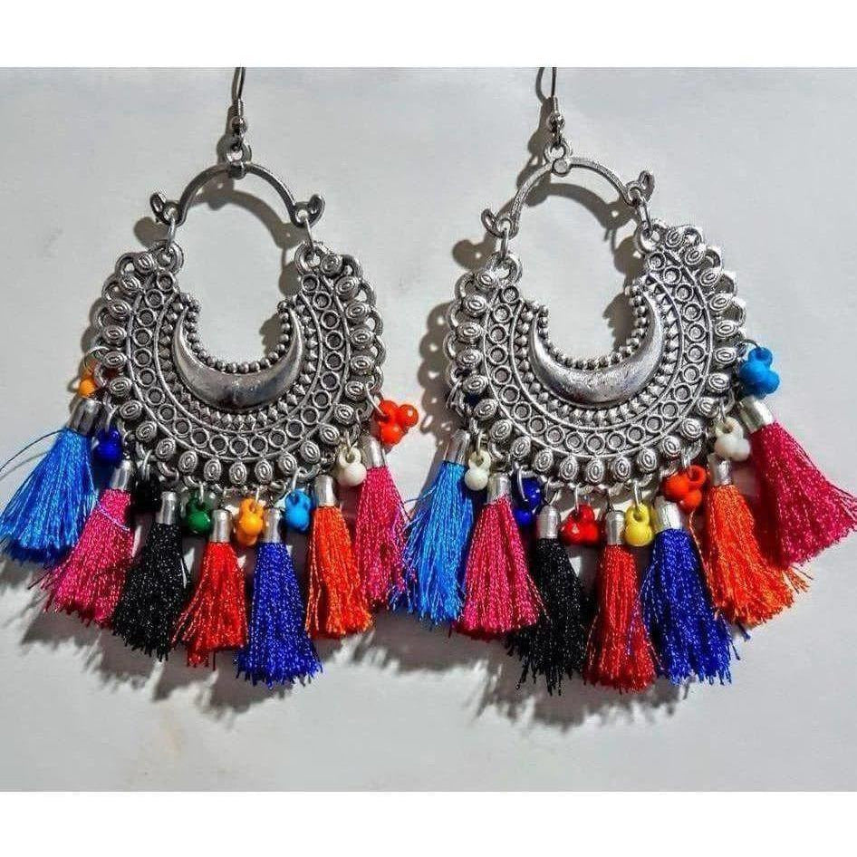 Afghani Chandbali with Beads And Silk Threads Alloy Earrings