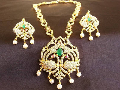 Latest Multicolor AD Peacock Bridal Necklace Set