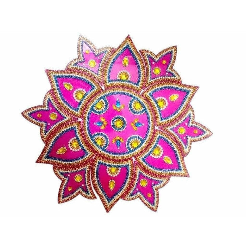 Kundan Rangoli Design Pink color For Floor Decoration / Wall Decoration / Pooja Decoration - Dista Cart