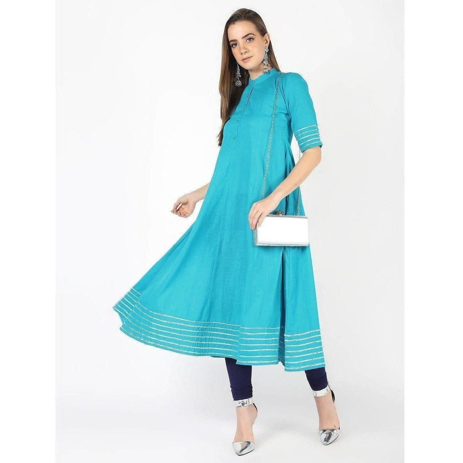 Cheera Kalidar Anarkali Dress With Gotta Work