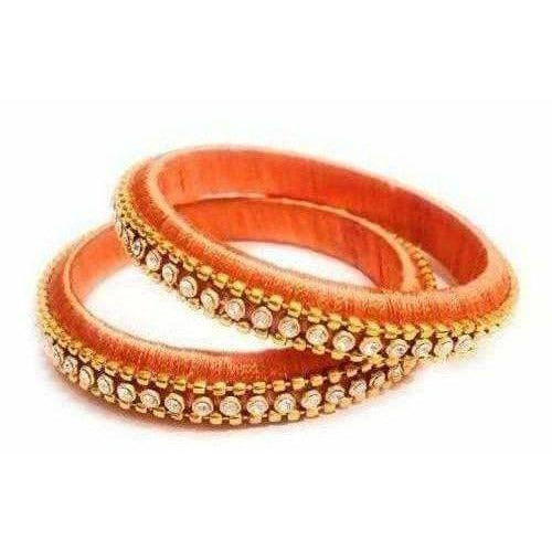 Orange Color with White Stones - Set of 2 Bangles
