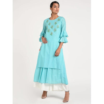 Cheera Women's Anarkali Double Layerd Kurta With Contrast Embroidery And Side Dori Tasal (CH020K)