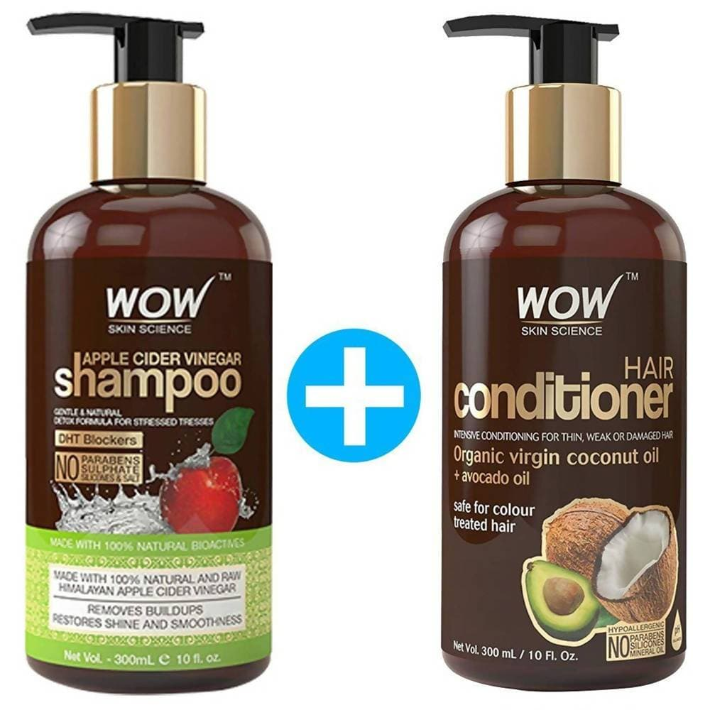 Wow Skin Science Apple Cider Vinegar Shampoo and Hair Conditioner Combo - Distacart