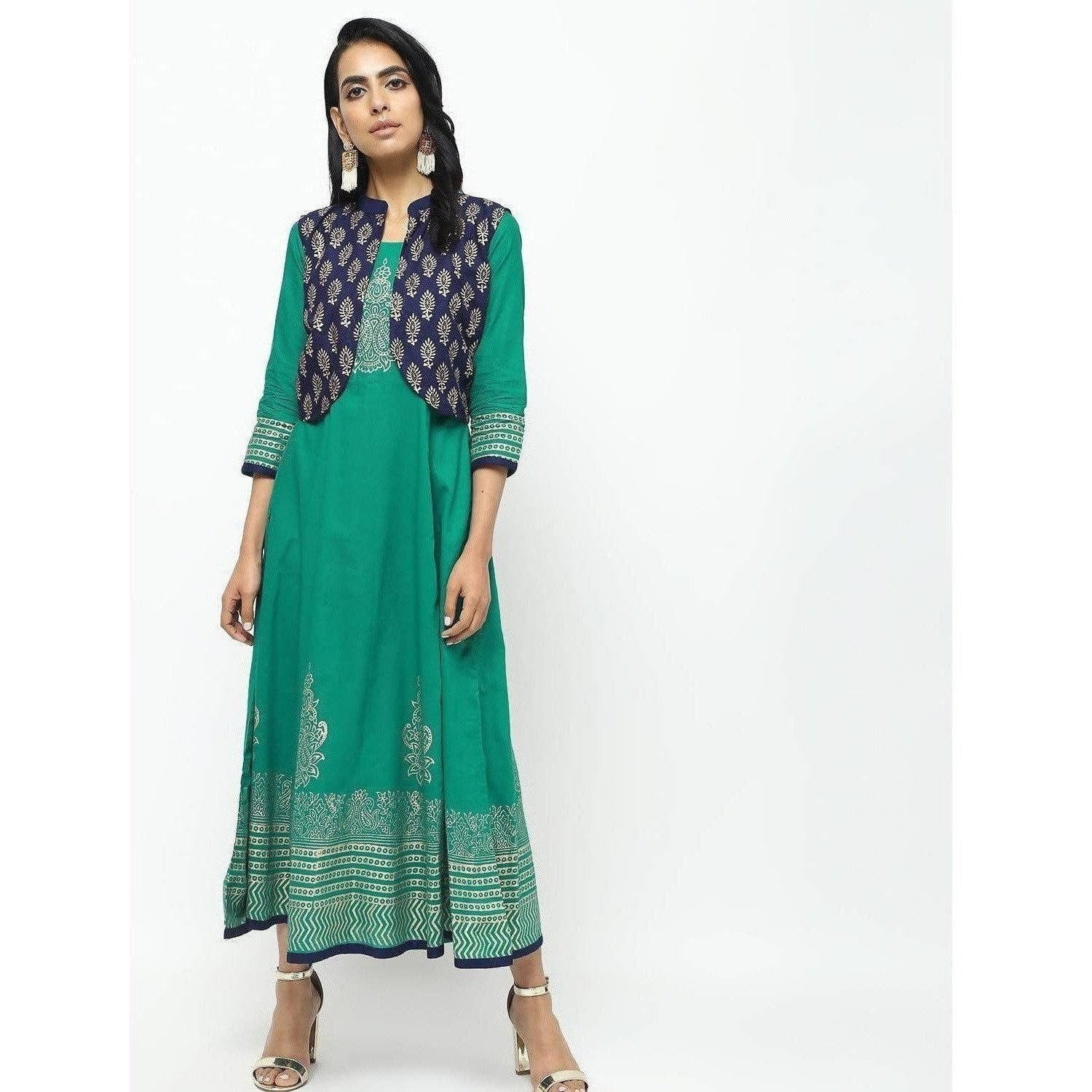 Cheera Kalidar Anarkali With Contrast Jacket On Foil Print Design Kurta