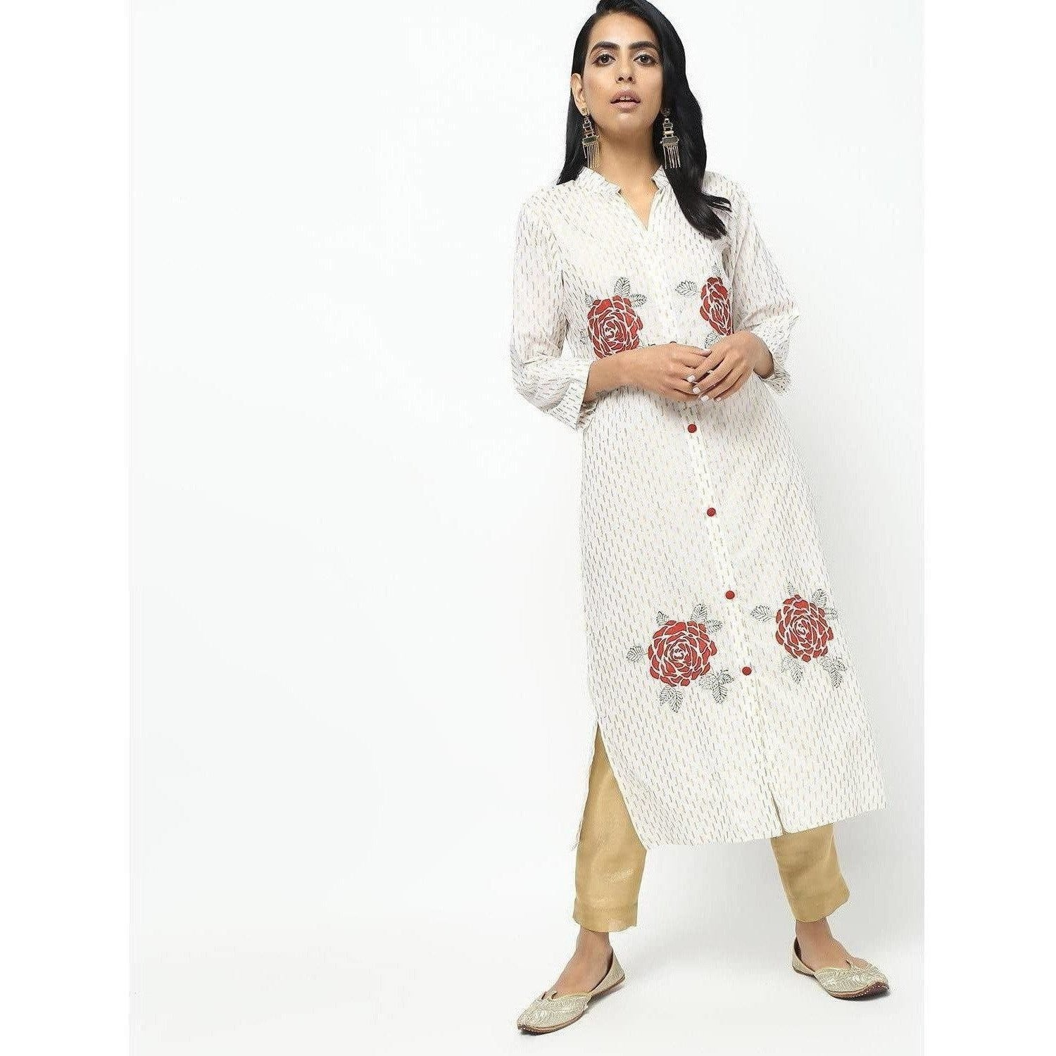 Cheera Off White Straight Foil Printed Long Kurta