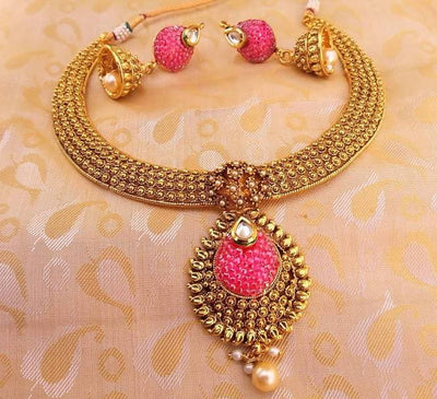 Multicolor Antique Pink Necklace With Earrings