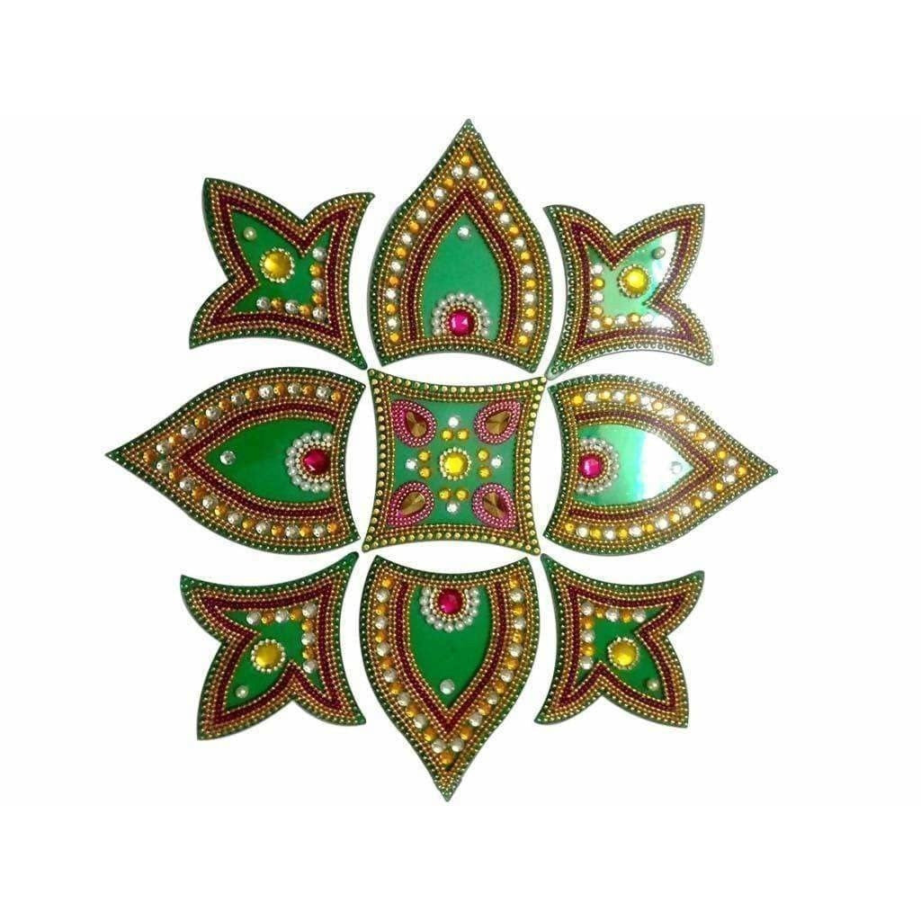 Kundan Rangoli Design Green color For Floor Decoration / Wall Decoration / Pooja Decoration