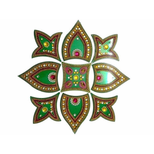 Kundan Rangoli Design Green color For Floor Decoration / Wall Decoration / Pooja Decoration - Dista Cart
