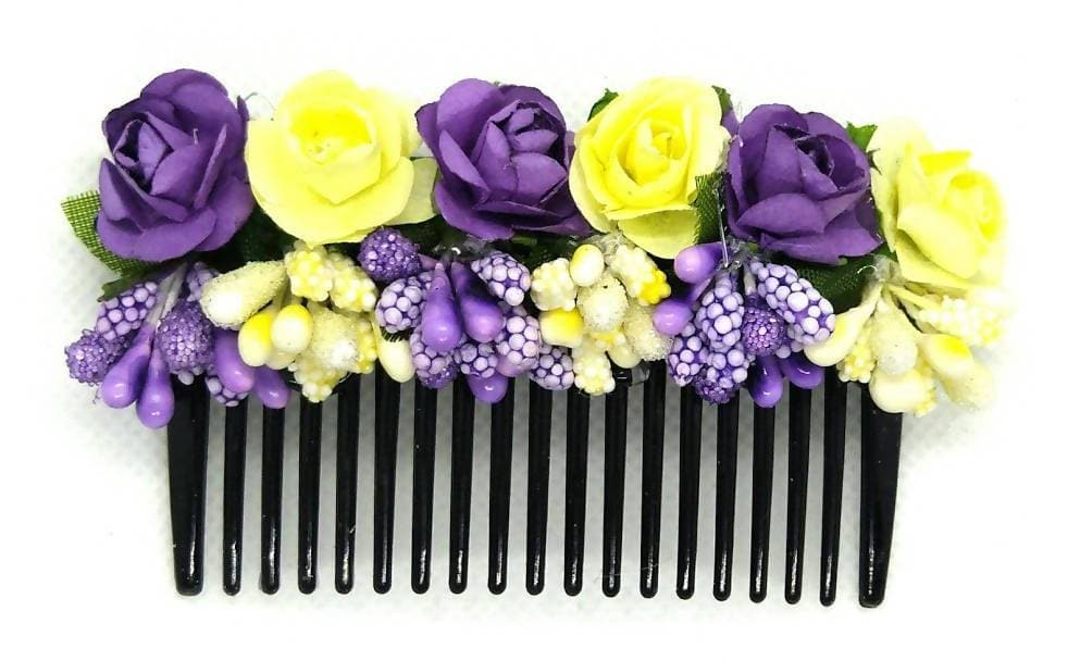Yellow & Blue Flower Hair comb