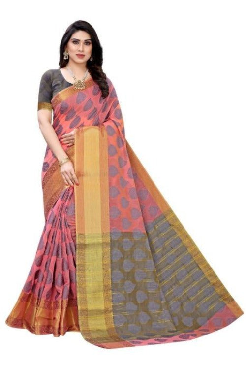 Vamika Pink Jari Work Cotton Silk Saree (RIDHIMA PINK)