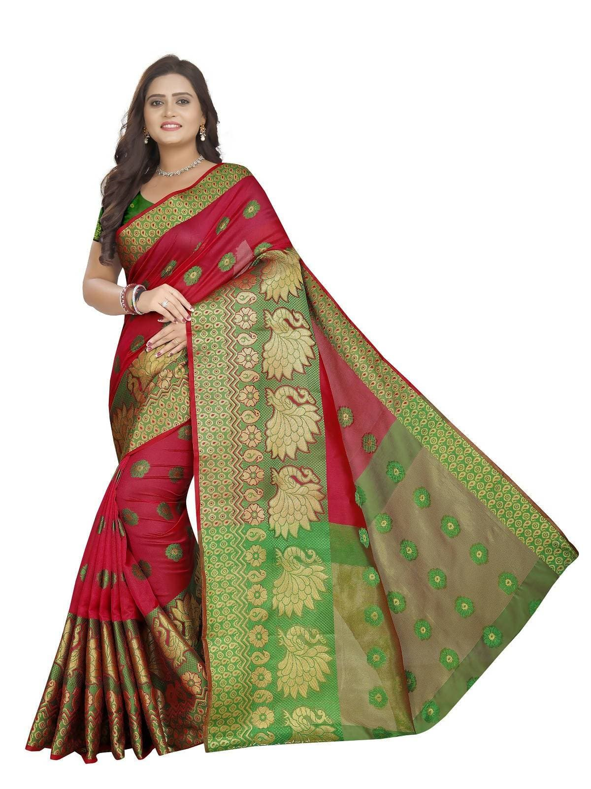 Vamika Banarasi Cotton Silk Red Weaving Saree