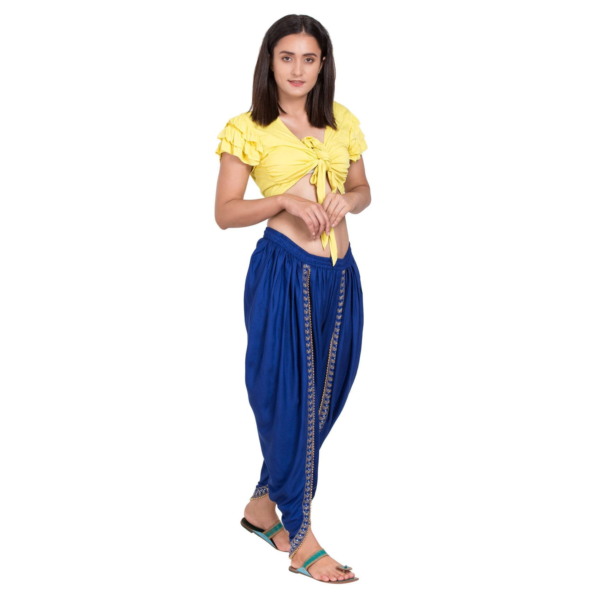 Asmaani Royal Blue color Dhoti Patiala with Embellished Border
