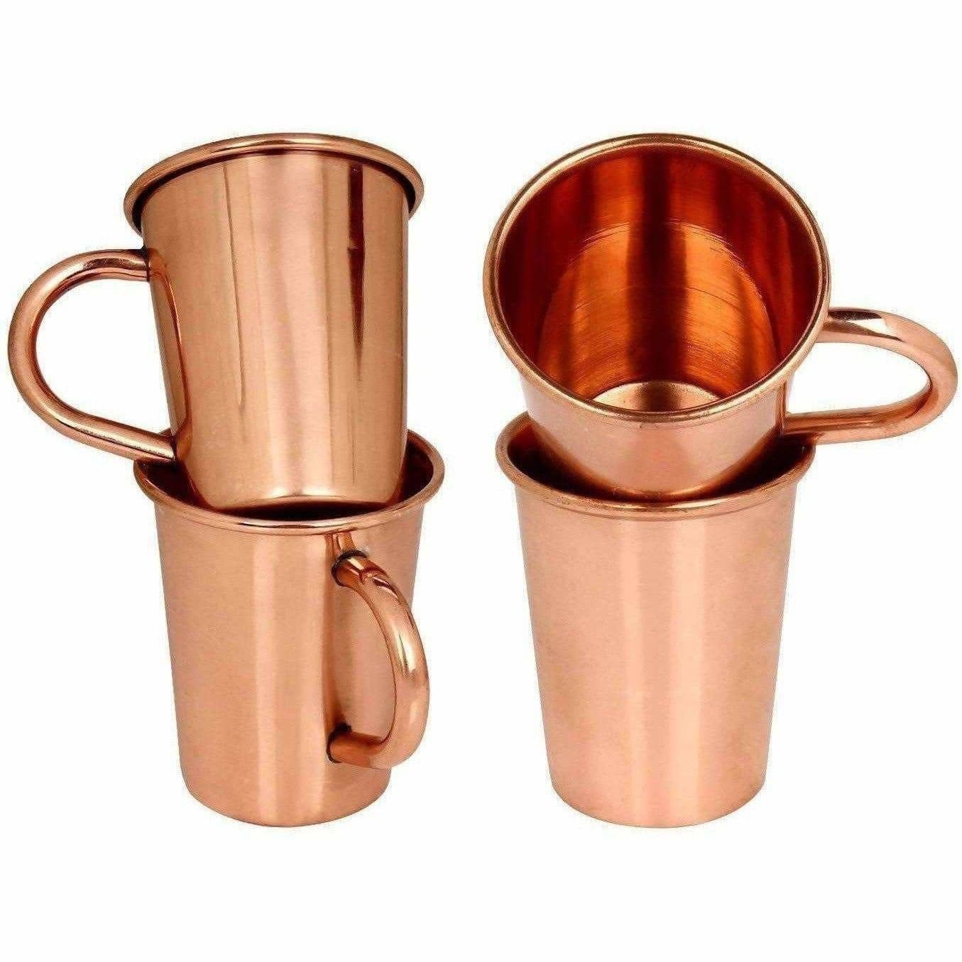 Small Solid Copper Glasses with Handle Set of 4