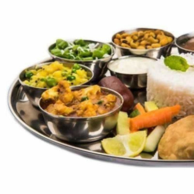 Soham Stainless Steel Round Lunch Plate/Dinner Plate, Tiffin Plate,Snacks Plate,Food Plate With Flower Design-3PC