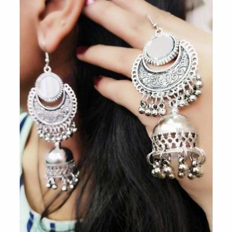 Traditional Oxidized Silver Jhumka Mirror Earrings