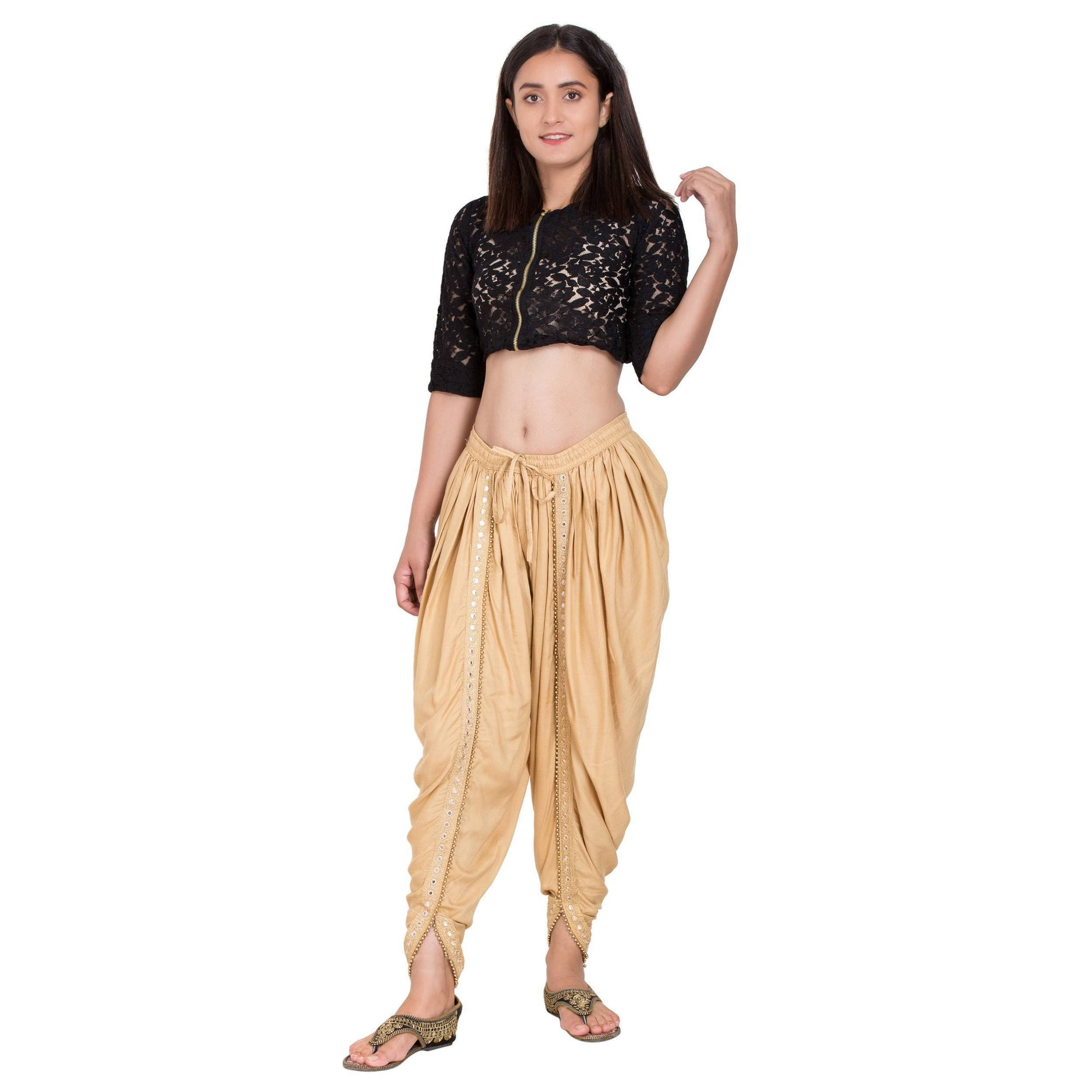 Asmaani Beige color Dhoti Patiala with Embellished Border